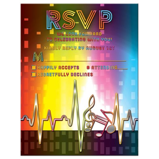 Unique light spectrum, heartbeat and music notes music Bar Mitzvah RSVP card front