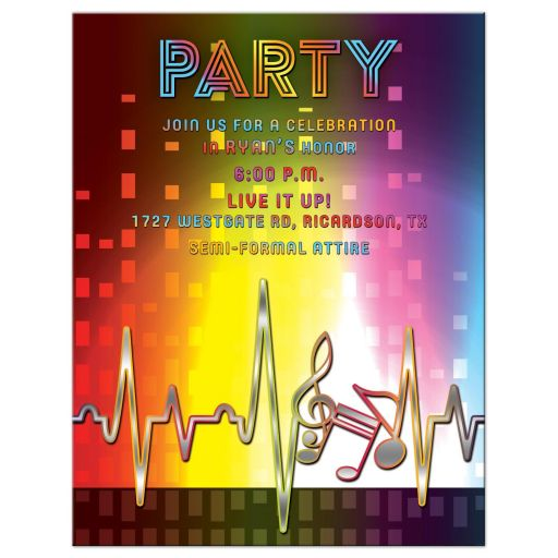 Funky rainbow spectrum, heartbeat and music notes music Bar Mitzvah reception card or music Bat Mitzvah reception card front