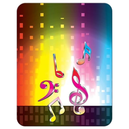Funky rainbow spectrum, heartbeat and music notes music Bar Mitzvah reception card or music Bat Mitzvah reception card back