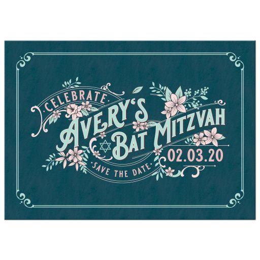 Unique teal and blush pink floral vintage Bat Mitzvah save the date announcement