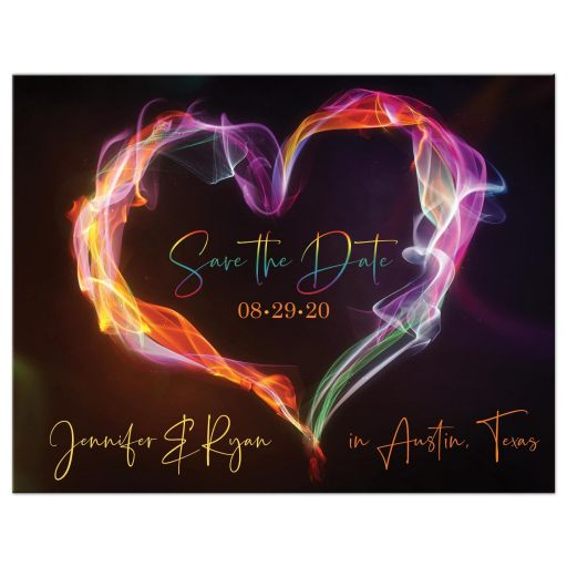 ​Rainbow colored photo wedding save the date post card with smoke and fire heart.