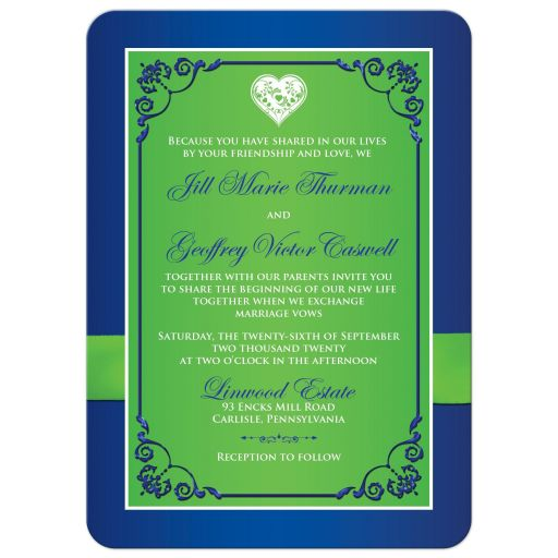 Best blue, green and white floral wedding invite with flowers, ribbon and bow embellishments