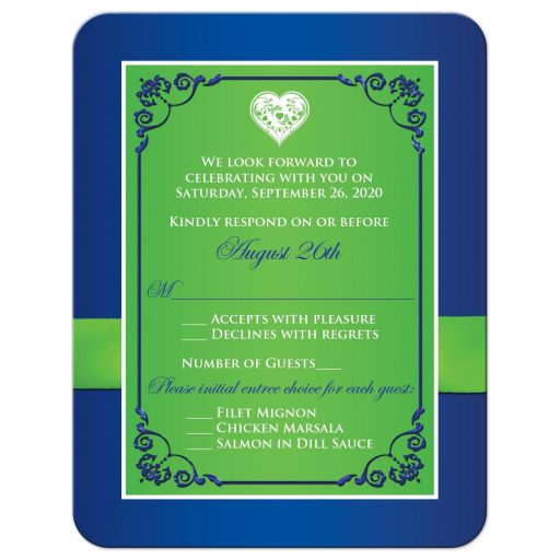 Best blue, green and white floral wedding rsvp cards with flowers, ribbon and bow embellishments