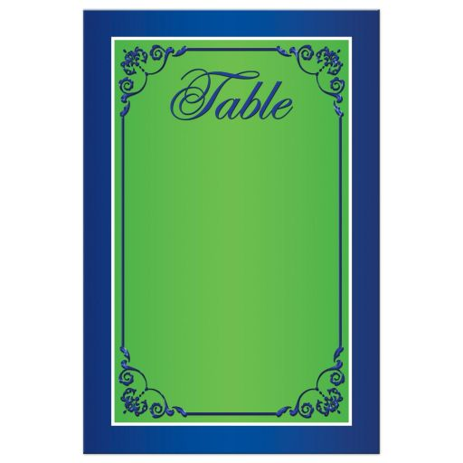 Great royal blue, white and chartreuse green scrolled wedding table number cards