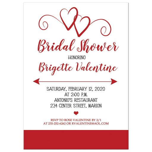 Red Hearts Bridal Shower Invitation