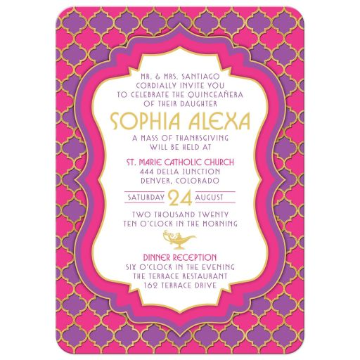 Fuchsia pink, purple and gold quatrefoil pattern Arabian nights magic lamp fairy tale la Quinceañera invitation front
