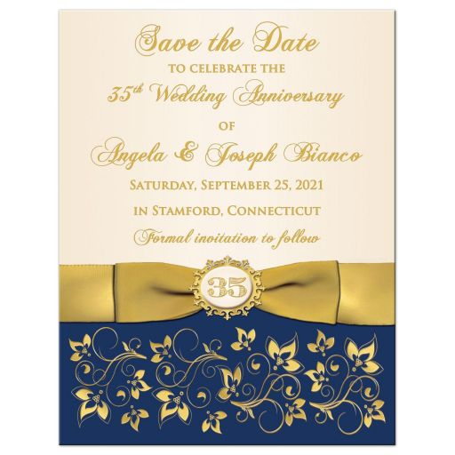 Navy blue, ivory, and gold floral 35th wedding anniversary save the date magnet with golden flowers, ribbon, and bow and brooch with the number 35 on it.