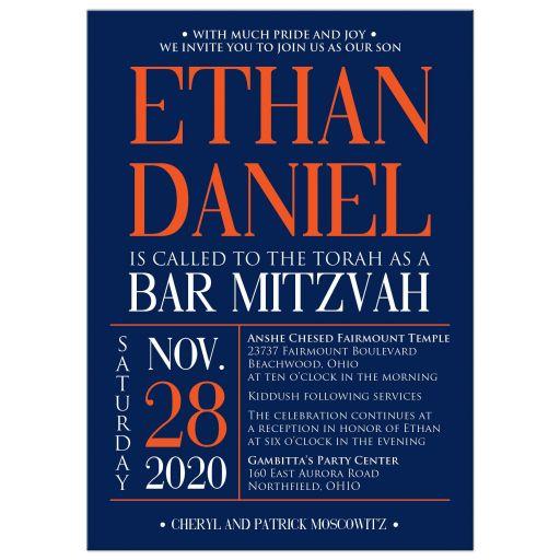 Modern navy blue, orange, and white modern typography Bar Mitzvah invitation with a funky zig zag pattern.