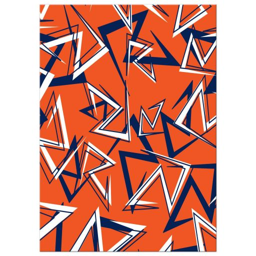 Modern navy blue, orange, and white modern typography Bar Mitzvah invite with a funky zig zag pattern.