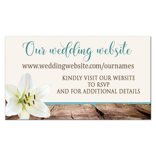 Wedding Website Cards - Beach Lily Seashells and Sand