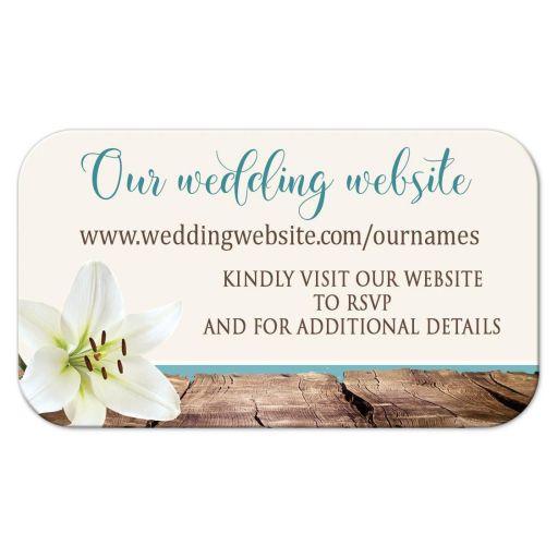 Wedding Website Cards - Beach Lily Seashells and Sand