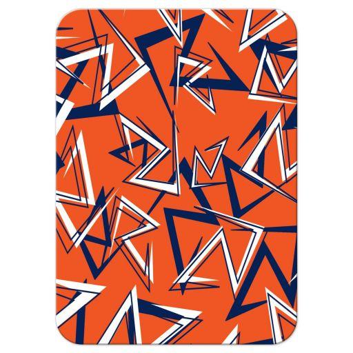 Navy blue, orange, and white modern typography Bar Mitzvah RSVP enclosure card insert with a funky urban grunge graffiti zig zag pattern.