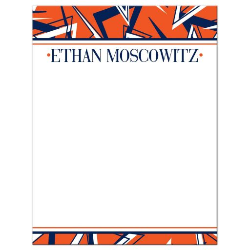 Navy blue, orange, and white modern typography Bar Mitzvah thank you card with a funky urban grunge graffiti zig zag pattern.