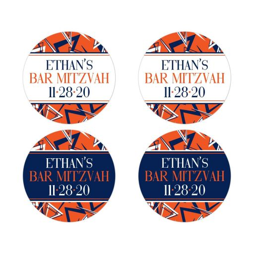 Personalized navy blue, orange, and white modern typography Bar Mitzvah envelope seals or party favor stickers with a funky urban grunge graffiti zig zag pattern.