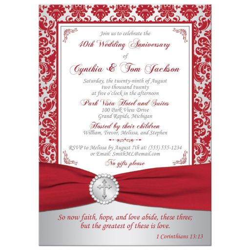 Red and silver grey damask pattern 40th wedding anniversary invitation with a red ribbon and crystal buckle brooch with a silver Christian Cross and Bible verse.