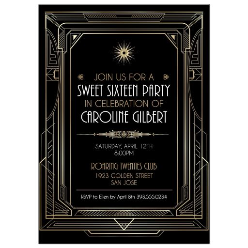 Roaring 20s Art Deco Gold and Black Sweet 16 Party Invitation