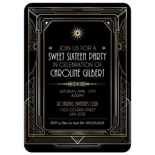 Roaring Twenties Art Deco Gold and Black Sweet Sixteen Party Invitation