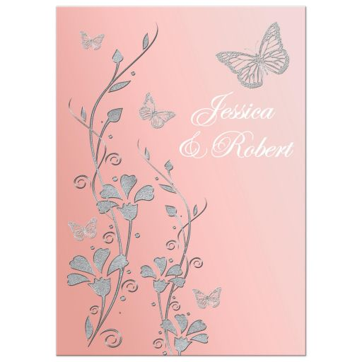 Blush pink, silver grey, and white floral wedding invitation with butterflies.