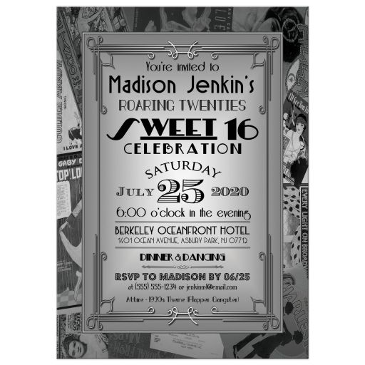 Art Deco roaring twenties sweet sixteen birthday party invitation with vintage movie, dance, and music posters in black, silver, and grey.