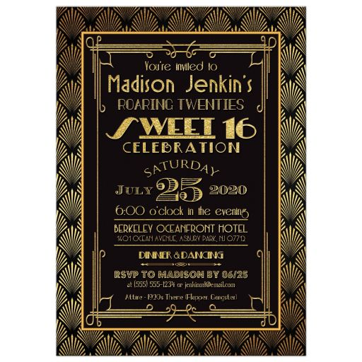 Black Gold Art Deco Roaring Twenties Sweet 16 Party Invitation