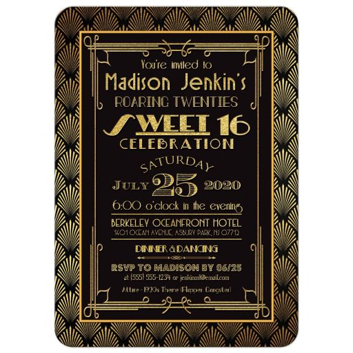 black and gold roaring twenties sweet sixteen birthday party invitation with Art Deco patterns of shells, fans, and dots.