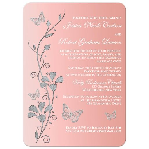 Blush pink, silver gray, and white floral wedding invite with butterflies.