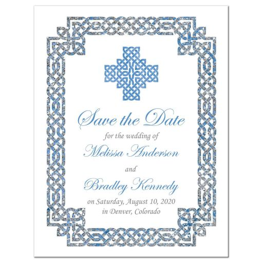 ​Beautiful sky blue and silver gray celtic knot wedding save the date announcement front