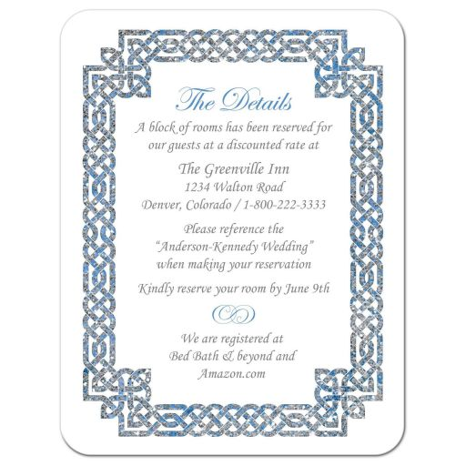 Beautiful sky blue and silver gray celtic knot wedding details card front