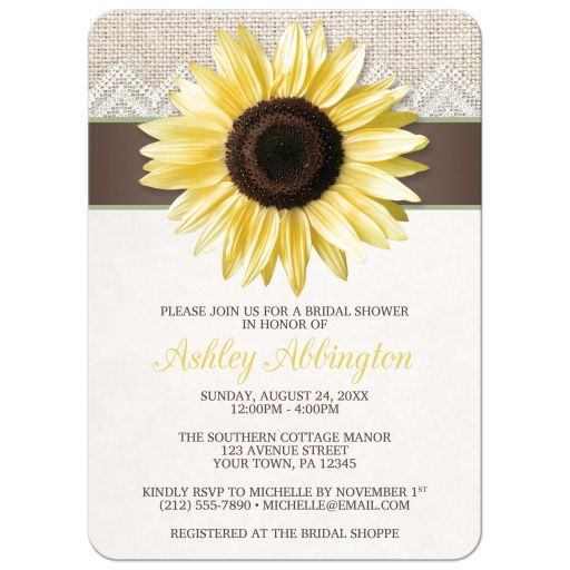 Bridal Shower Invitations - Sunflower Burlap and Lace Brown Sage