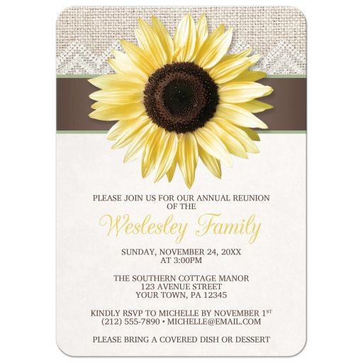 Family Reunion Invitations - Sunflower Burlap and Lace Brown Sage