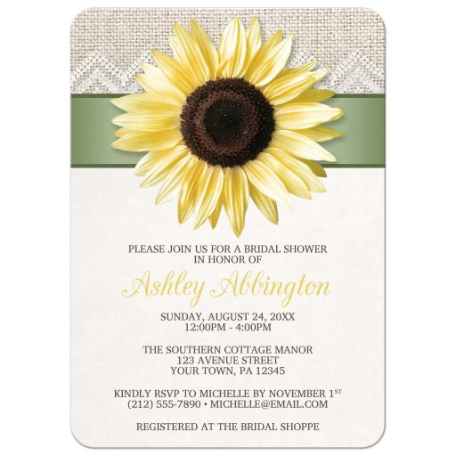 Bridal Shower Invitations - Sunflower Burlap and Lace Sage