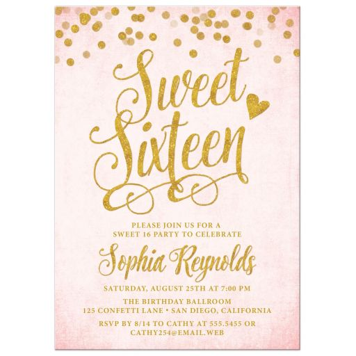 Blush Pink & Gold Sweet 16 Invitations by The Spotted Olive