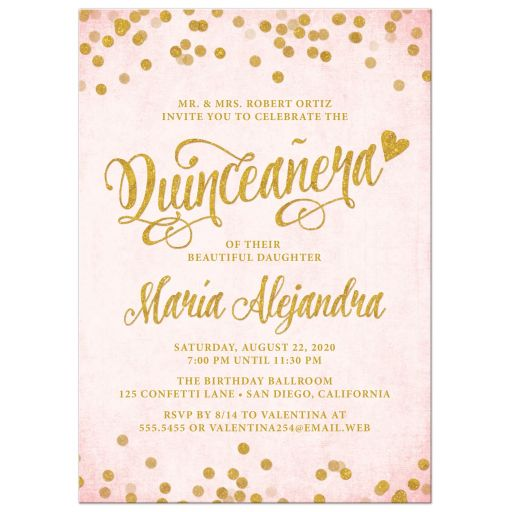 Blush Pink & Gold Quinceañera Invitations by The Spotted Olive