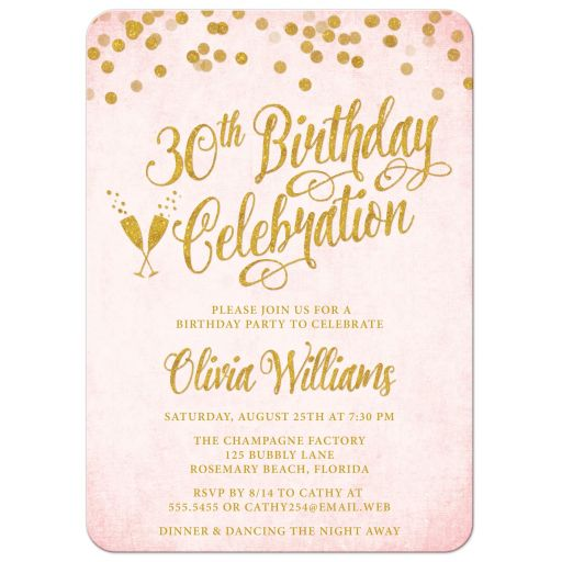 Blush Pink & Gold 30th Birthday Invitations by The Spotted Olive