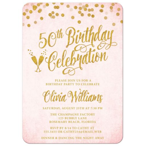 Blush Pink & Gold 50th Birthday Party Invitations by The Spotted Olive