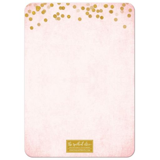 Blush Pink & Gold 50th Birthday Party Invitations by The Spotted Olive - Back