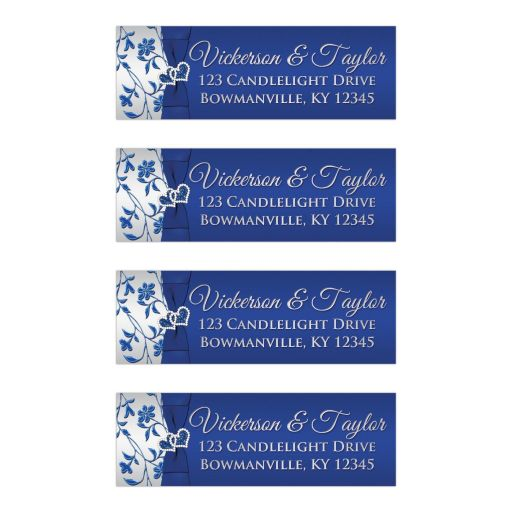 Royal Blue, Silver Floral Return Address Mailing Labels with PRINTED on ribbon/bow, jewels, glitter, double hearts.