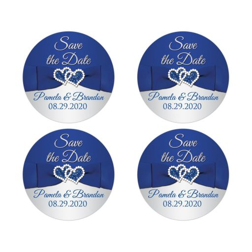 ​Romantic Royal Blue and Silver Tone Wedding Envelope Seals or Favor Stickers.