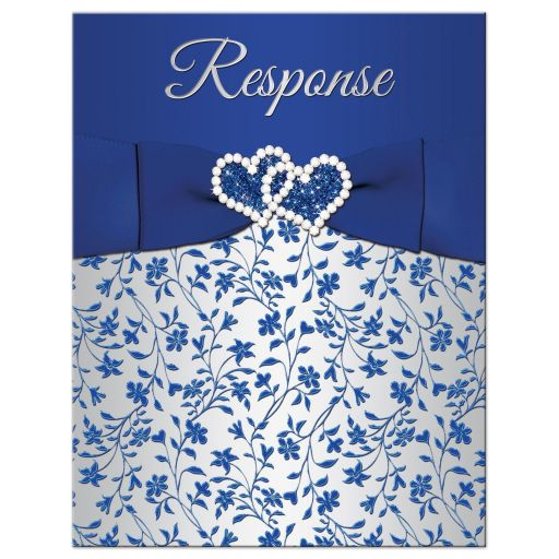 Royal blue, silver gray floral wedding response card with jewel and glitter double hearts, ribbon, bow and ornate scroll.