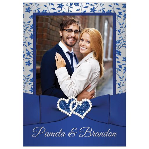 Best royal blue, silver grey grey floral wedding invitation with joined diamond jeweled and glitter hearts, ribbon, bow and ornate silver scroll work.