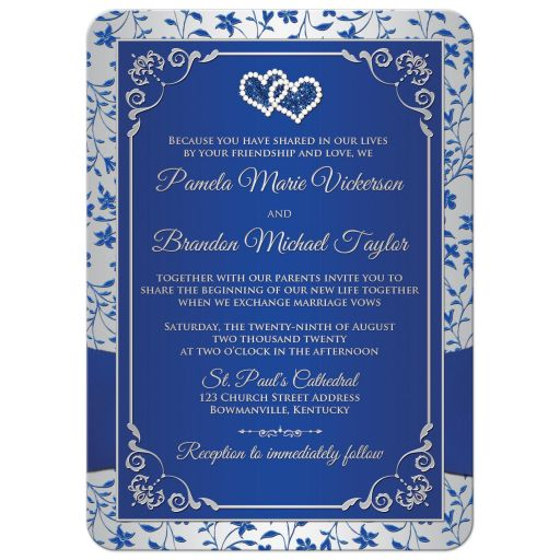 Great royal blue, silver grey grey floral wedding invite with joined diamond jeweled and glitter hearts, ribbon, bow and ornate silver scroll work.