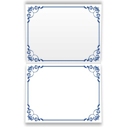 Royal blue, silver grey floral wedding thank you note cards with joined jewel and glitter hearts, ribbon, bow and ornate blue scrolls.