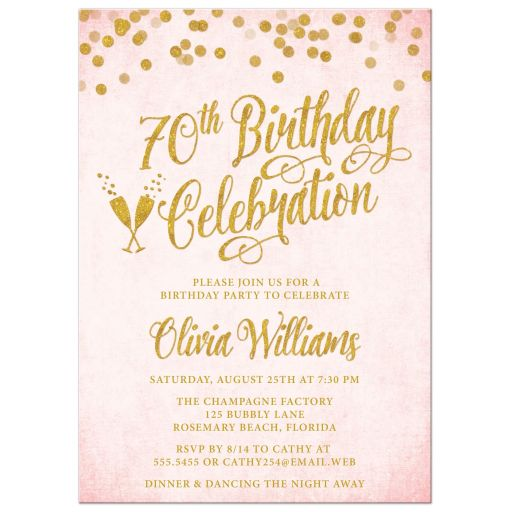 Blush Pink & Gold 70th Birthday Party Invitations by The Spotted Olive