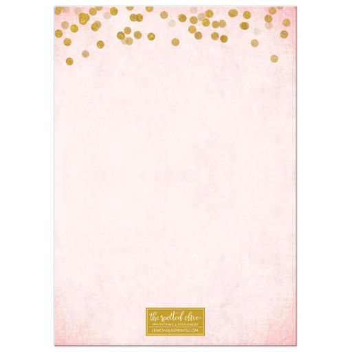 Blush Pink & Gold 100th Birthday Party Invitations by The Spotted Olive - Back