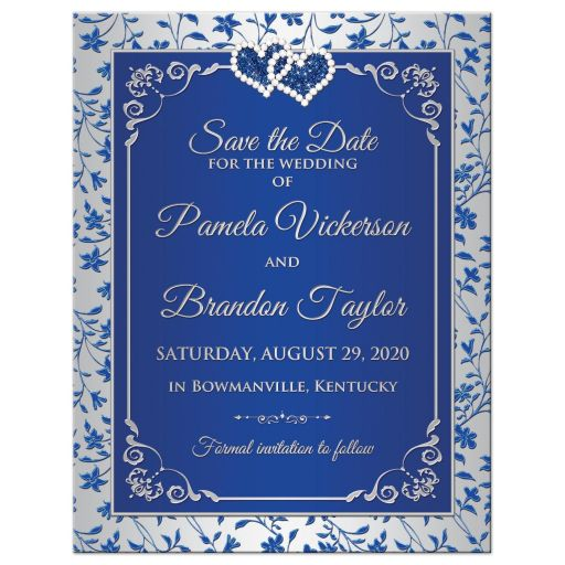 Royal blue and silver grey floral wedding save the date magnet with two hearts.
