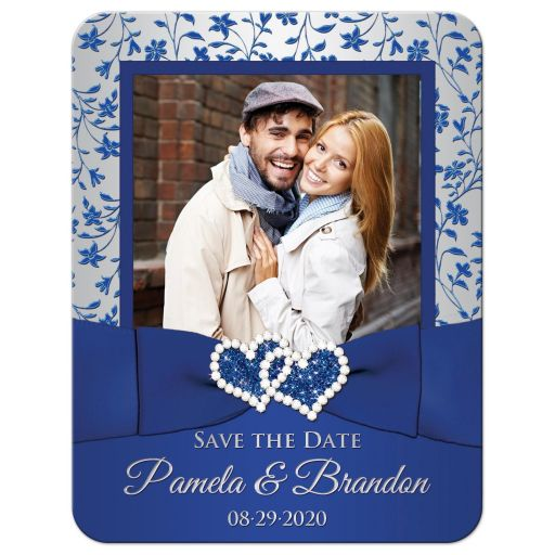 Royal blue and silvery gray floral wedding save the date card with photo template, ribbon, bow, jewels, glitter, joined hearts.