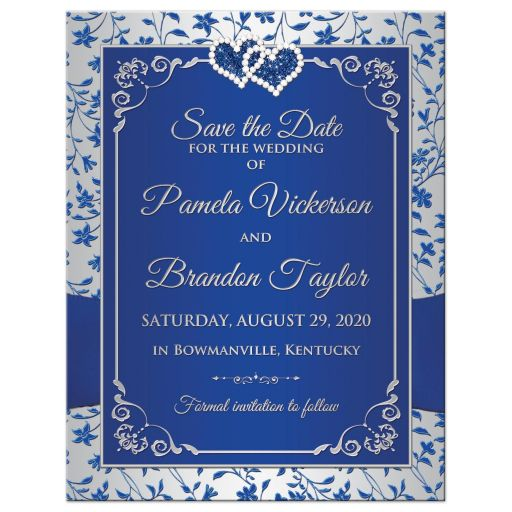 Royal blue and silvery grey floral wedding save the date card with photo template, ribbon, bow, jewels, glitter, joined hearts.