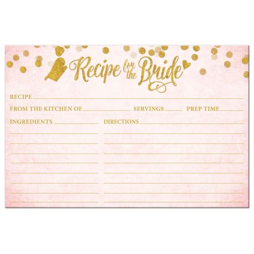 Blush Pink & Gold Recipe For The Bride Cards by The Spotted Olive