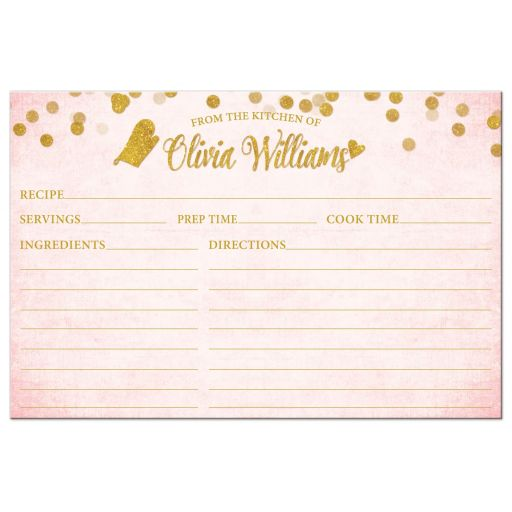 Personalized Blush Pink & Gold Recipe Cards