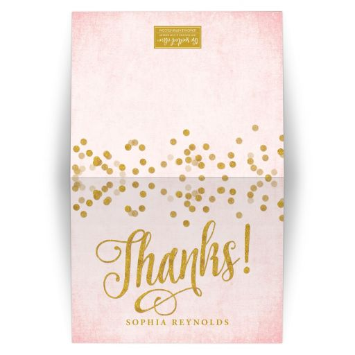 Blush Pink & Gold Personalized Thank You Cards by The Spotted Olive